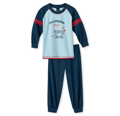 Schiesser Jungen Schlafanzug Pyjama lang hellblau exklusiv