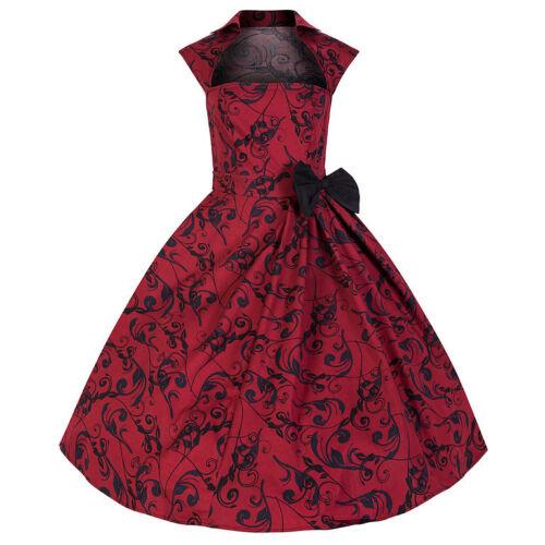Anni Da Pin Rockabilly Swing Rosso Vestito Kitty Bello Party 50 Vintage Ballo Up wPCqpExH