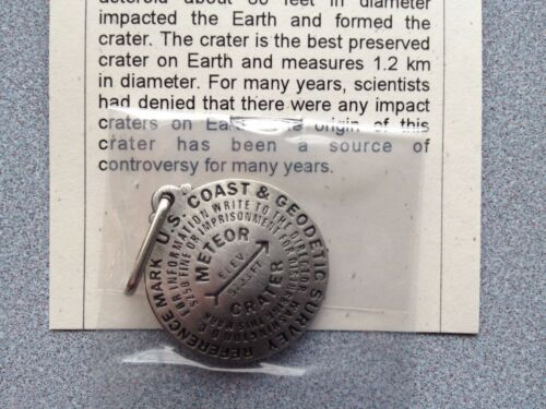 made in USA Meteor Crater Benchmark Zipper Pull 1.25 inch diameter