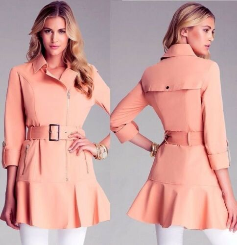 $149 NWT bebe coral belt ruffle flare pleat dress top trench jacket XS S M L