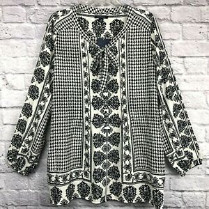 SIZE 12 NEW LANDS END WOMENS LONG SLEEVE VOILE TUNIC BLOUSE WHITE BUBBLES