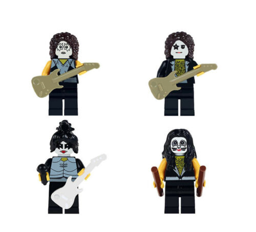 KISS Rock Band Mini Figures Set of 4 Gene Simmons Ace Peter Paul Free Gift Bags