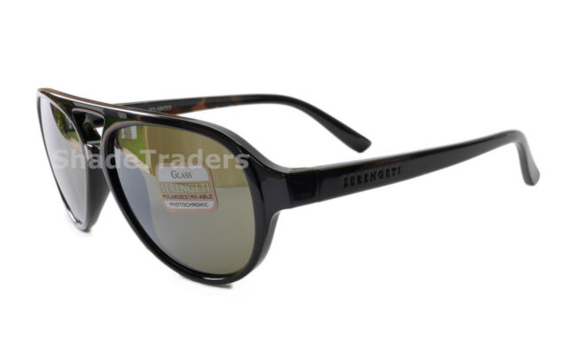 b7ad806339 SERENGETI GIORGIO SUNGLASSES SHINY BLACK TORTE POLARIZED GREEN 555NM MIRROR  8181