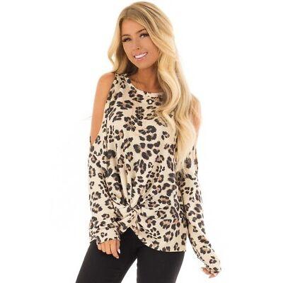 UK Womens Leopard Print Cold Shoulder T-shirt Loose Blouse Shirt Top Size 10-16