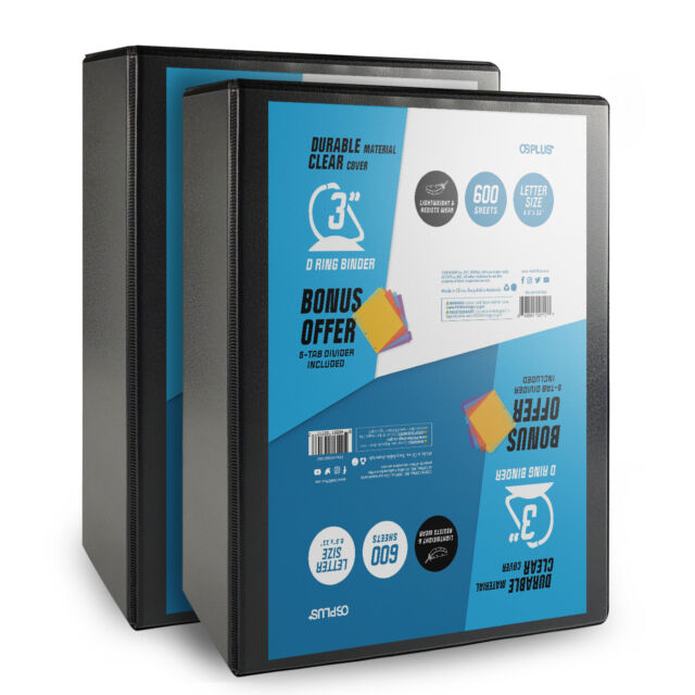 OS Plus 3 Inch, Durable D-Ring View Binder, Black, 2 Pack