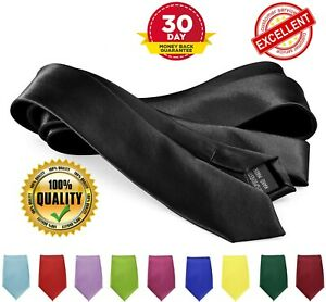 Men-039-s-Skinny-Neckties-Polyester-Solid-Color-Slim-Neck-Tie-by-Moda-Di-Raza