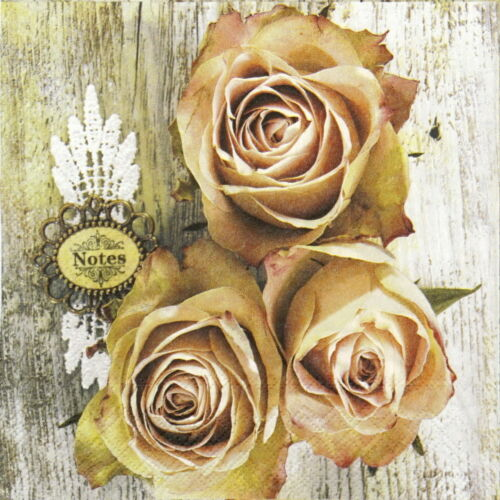 4x Paper Napkins for Decoupage Decopatch Craft Roses on wood