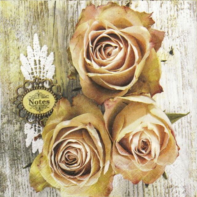 4x Paper Napkins for Decoupage Decopatch Craft Rose Mix