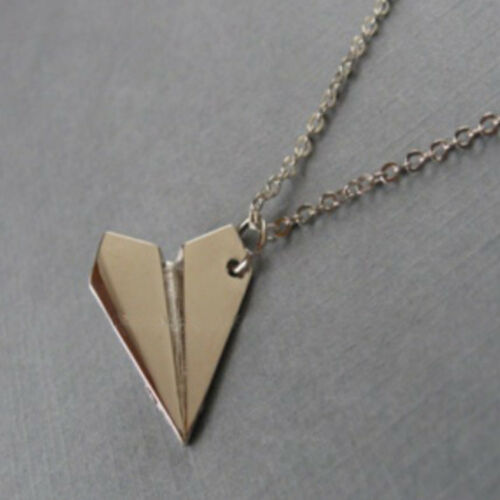 origami Paper Plane pendant Necklace Silver chain gift trendy airplane charm uk