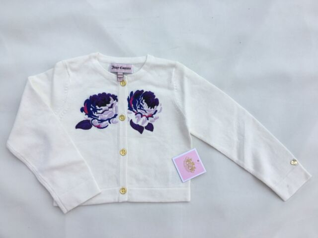 Juicy Couture Baby Girls White Cardigan With Flowers Size  18/24 M