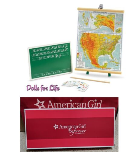 American Girl MARYELLEN CLASSROOM SET for 18 Dolls Supplies Maps Chalkboard NEW