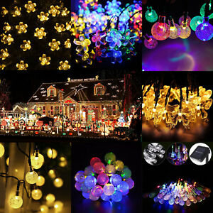 20 leds solar lichterkette kette weihnachtsbaumkette garten party au en innen de ebay. Black Bedroom Furniture Sets. Home Design Ideas