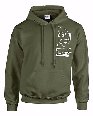 CARP HOODY SMALL TO 3XL. OLIVE GREEN. LEAPING CARP! FISHING CLOTHING