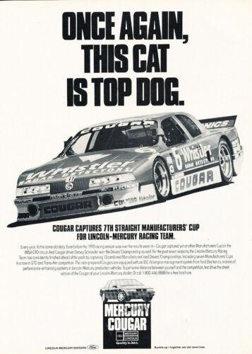 1990 1991 Mercury Cougar IMSA GTO Race Classic Vintage Advertisement Ad H38