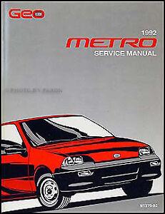 1992 Geo Metro Original Shop Manual 92 OEM Repair Service ...