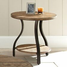 Weathered Oak Wood Metal Country Rustic Industrial Round End Table Shelf New
