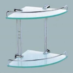 Image Is Loading Corner Bathroom Shower Double Layer Glass Shelf Shampoo