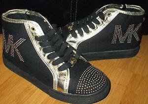 3189f778b699f MICHAEL KORS Ivy Shanna Black Gold Studded Girls High Top Canvas ...