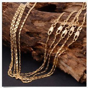 Feiner-Preis-1Pcs-18-26inch-Mode-18K-Gelb-GOLD-gefuellt-Rolo-Kette-Halskette-NIU