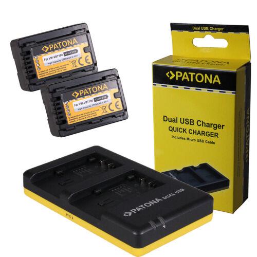 Dual USB Quick Charger per Panasonic HC-V727,HC-V770 2x Batteria Patona