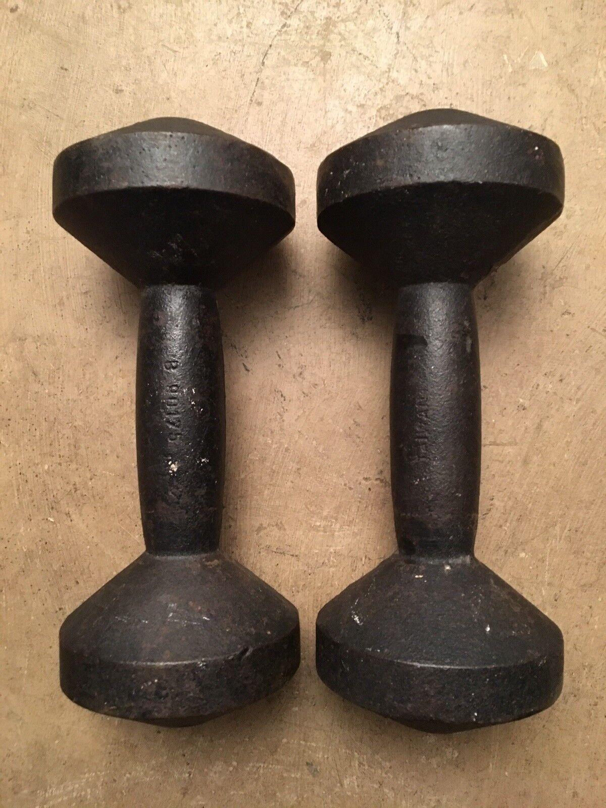 Vintage Pair Cast Iron Bun End Dumbbells Hand Weights Barbells 20 Lb X 2 = 40lb