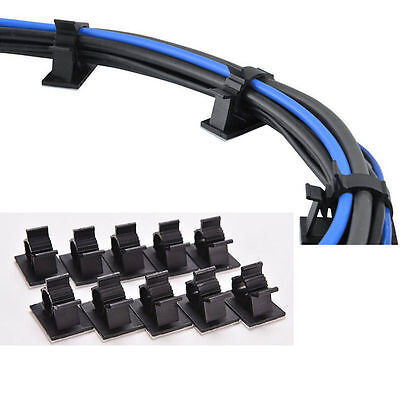 10pcs Cable Cord Wire Organizer Plastic Clips Ties Fixer Holder Self Adhesive HU