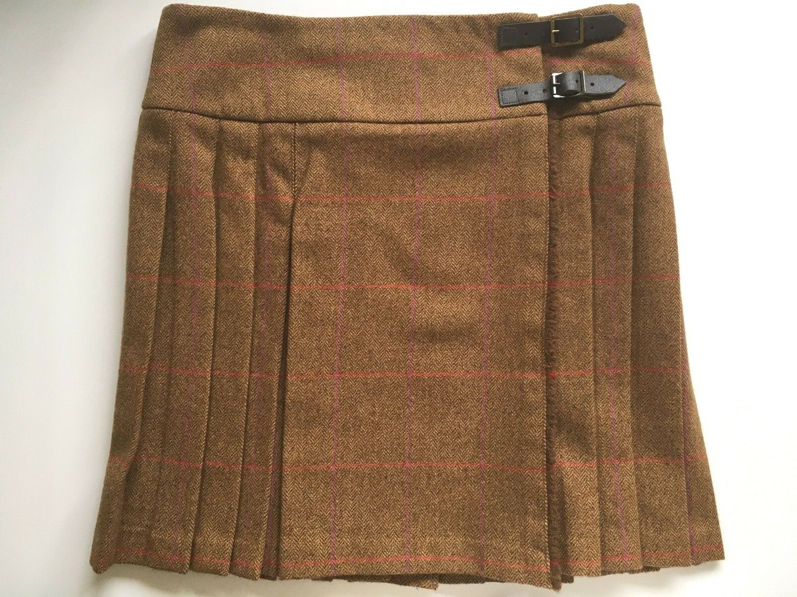 JOHNSTONS Scotland UK16 Saxony Tweed 100% wool short kilt herringbone windowpane