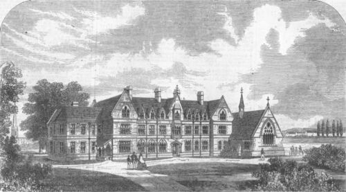 The Godolphin School 1862 LONDON Hammersmith antique print