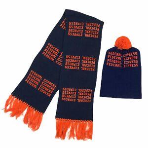 Vintage-Federal-Express-FedEx-Wool-Scarf-Beanie-Hat-Cap-Set-Blue-Orange-Rare-70s