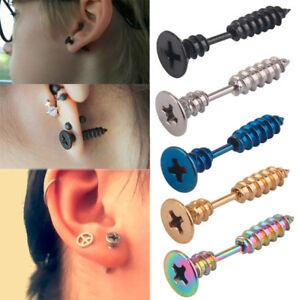 2Pcs-Women-Men-Gothic-Punk-Stainless-Steel-Screw-Spike-Stud-Earrings