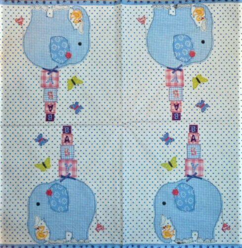 4 x Single Paper Napkins Decoupage Crafting Table Elephant It/'s a Boy 70