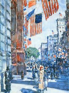 FREDERICK-CHILDE-HASSAM-FLAGS-FIFTH-AVENUE-OLD-MASTER-ART-PAINTING-PRINT-982OMLV