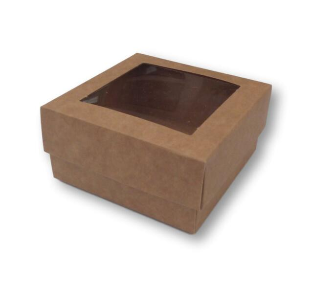 CAKES GIFTS 20 KRAFT 8 x 4 INCH BOXES WITH WINDOW GARMENTS ETC