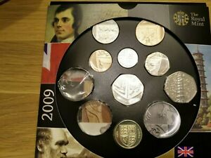 2009-ROYAL-MINT-BRILLIANT-KEW-UNCIRCULATED-SET-OF-COINS-incomplete-NO-2-COINS