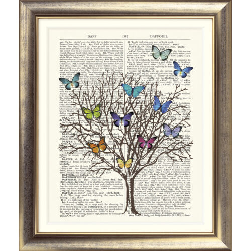 ART PRINT ON ORIGINAL ANTIQUE DICTIONARY BOOK PAGE Butterfly Tree Vintage Wall