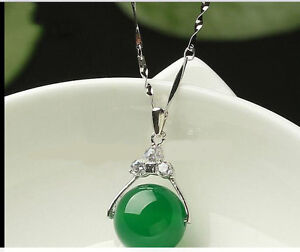 100-Natural-Hand-carved-Chinese-green-Jade-pendant-Insert-Silver-carving