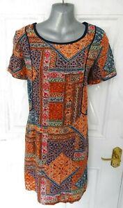 FAT-FACE-Size-8-UK-US-4-EU-36-Orange-Red-Navy-Blue-Shift-Tunic-Dress-Boho