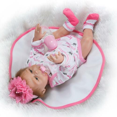 Weighted Silicone Full Body Baby Reborn Newborn Doll Magnetic Pacifier Toys 20in