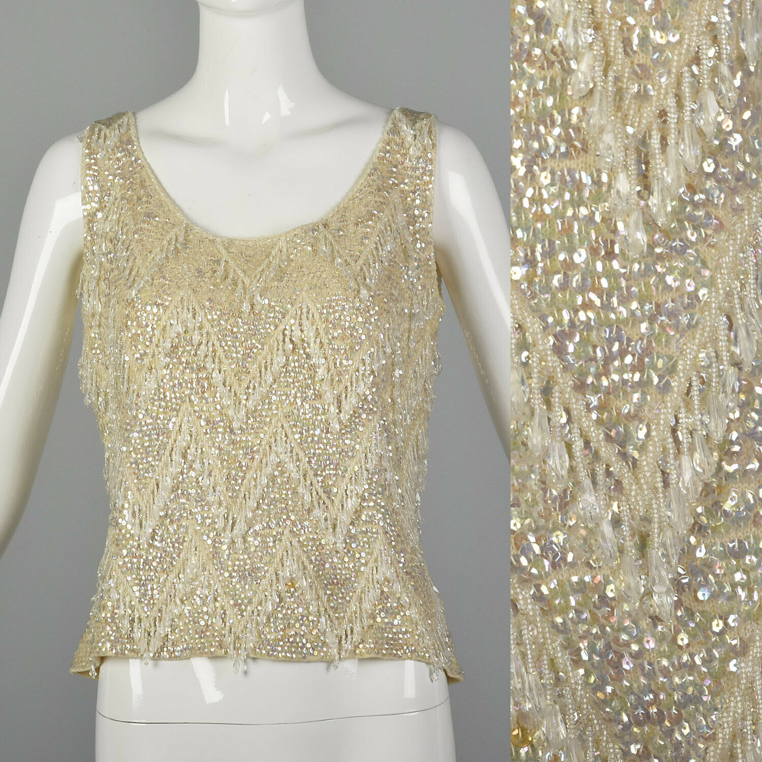 Large 1960s Sleeveless Beaded Sweater Blouse Ivory Knit Vintage Top Wedding 60s