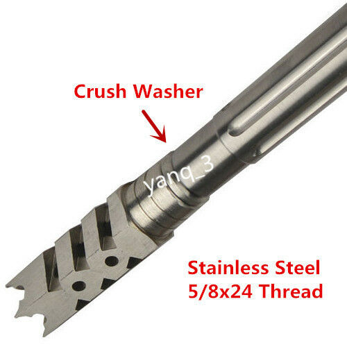 Stainles Steel Washer Stainless Steel 5//8/'/'x24 Thread 308 Shark Muzzle Brake