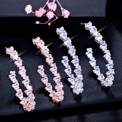 18K White /& Rose Gold Filled Simulated Diamond Channel-Set Open Hoop Earrings