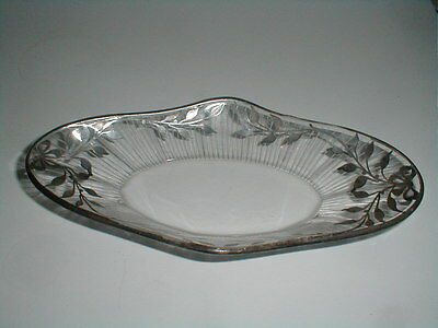 EAPG Antique Silver Overaly Clear Glass Oval Relish Celery Pickle Dish w Bow