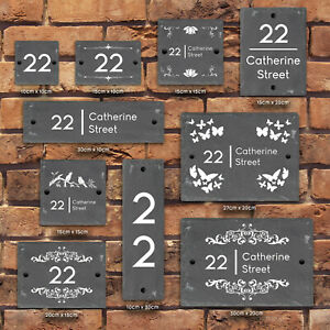 Rustic-Natural-Slate-House-Gate-Sign-Plaque-Door-Number-Personalised-Name-Plate