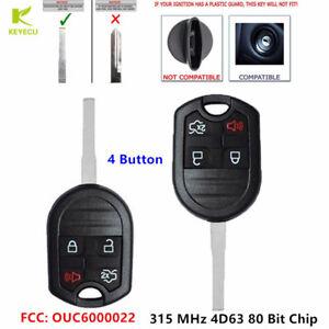 2 Fits 2006-2012 Ford 4 Button 80 Bit Remote Head Key