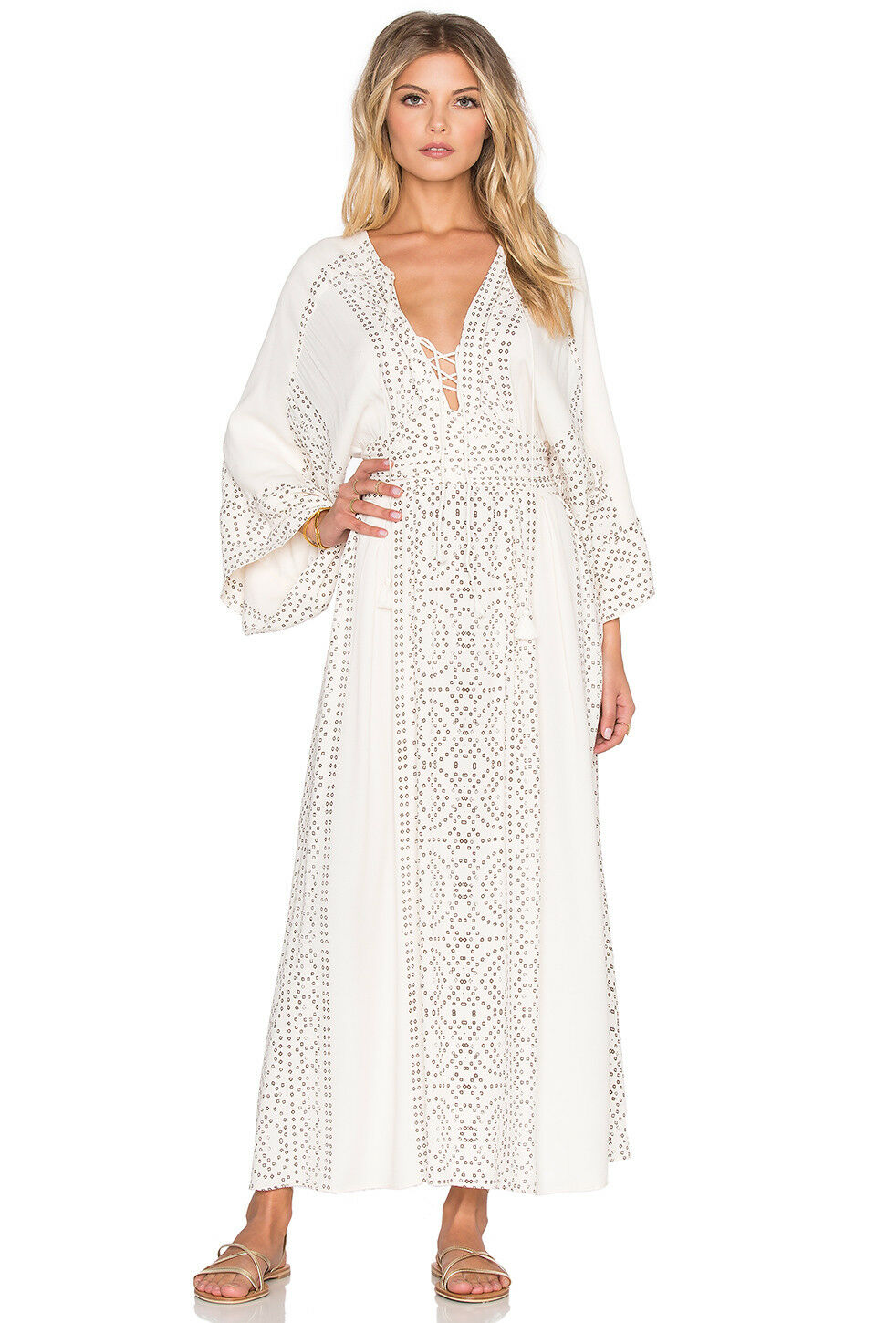 414746103eb Ivory Lace Maxi Dress With Sleeves