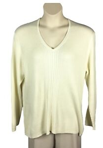 8f7c30336 Womens Liz Claiborne Vanilla V-Neck Sweater Plus Size 3X Rib Knit ...