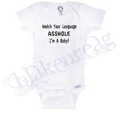 WATCH YOUR LANGUAGE Gerber® Onesie® Baby Funny INFANT T-SHIRT Shirt CUSS CURSE