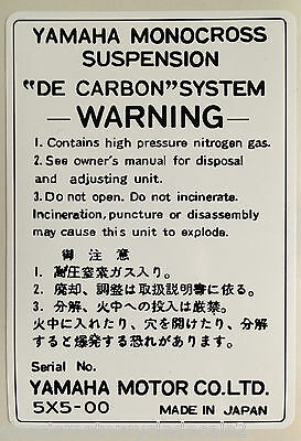 YAMAHA RD350LC YPVS RD350F2 RD350F REAR SHOCK ABSORBER CAUTION WARNING DECAL