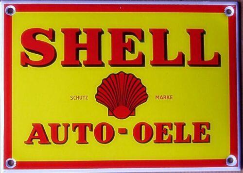 Shell Auto-Oele vitreous enamel steel badge 140mm x 100mm REDUCED jj