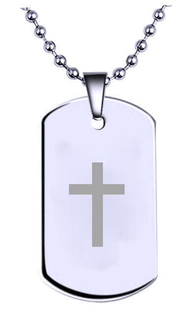 Kruzifix Kreuz Graviert Name Text Militär Erkennungsmarke